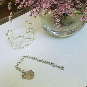 Jewelry - 2 Sterling silver heart bracelets